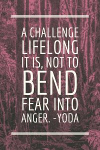 A challenge lifelong it is, not to bend fear into anger.-yoda