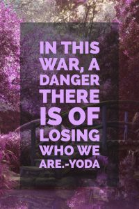 In this war, a danger there is of losing who we are.-Yoda