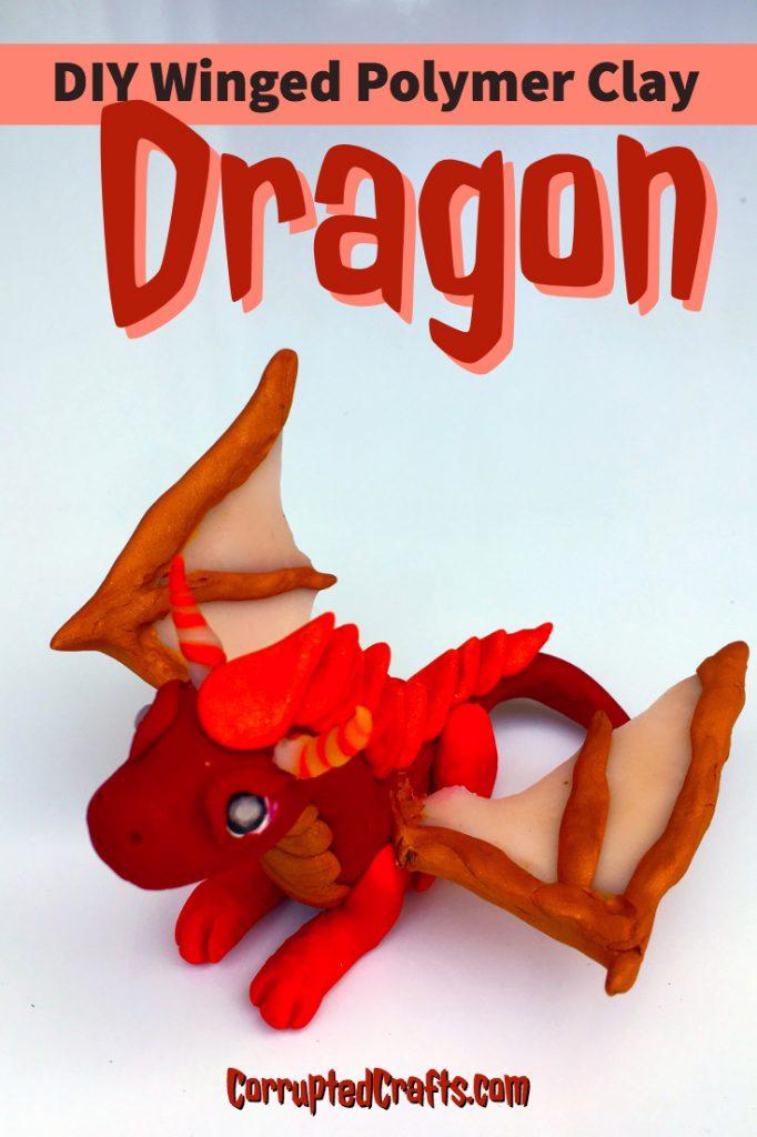 DIY Winged Polymer Clay Dragon - #polymerclay #clay #dragon #DIY #crafts